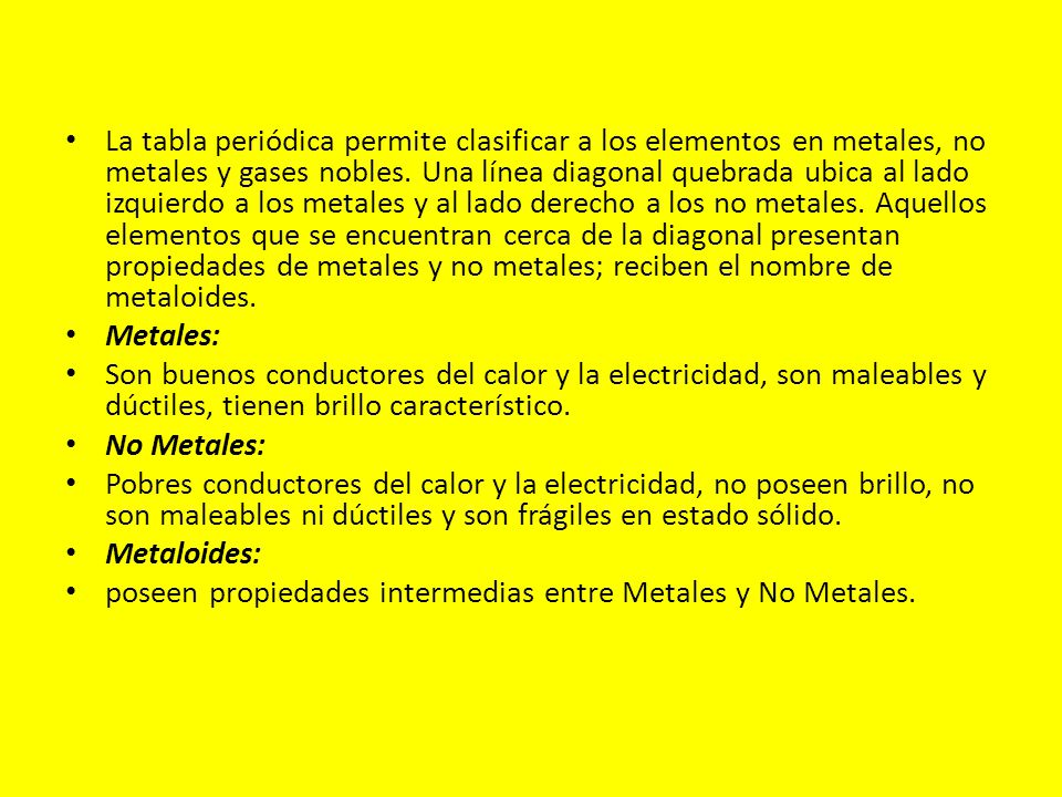 Introduccin por qu determinados elementos tienen propiedades la tabla peridica permite clasificar a los elementos en metales no metales y gases nobles urtaz Gallery
