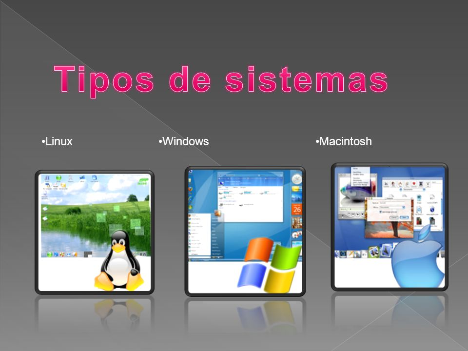 Tipos de sistemas Linux Windows Macintosh