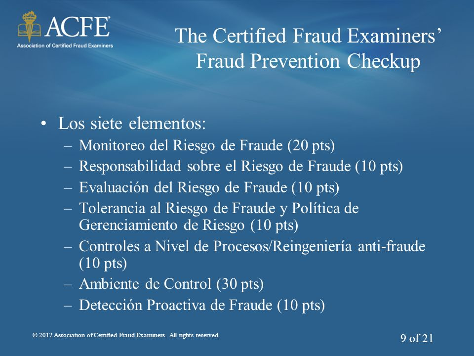 The Certified Fraud Examiners' Fraud Prevention Checkup