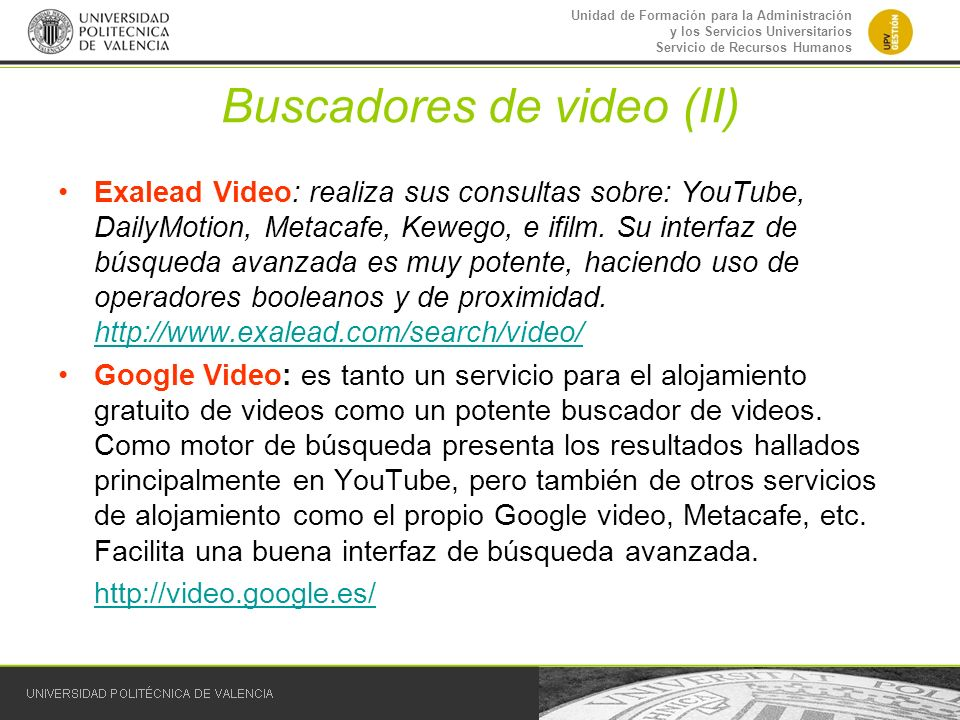 Buscadores de video (II)