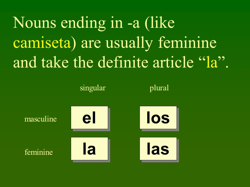 Nouns ending in -a (like camiseta) are usually feminine and take the definite article la .