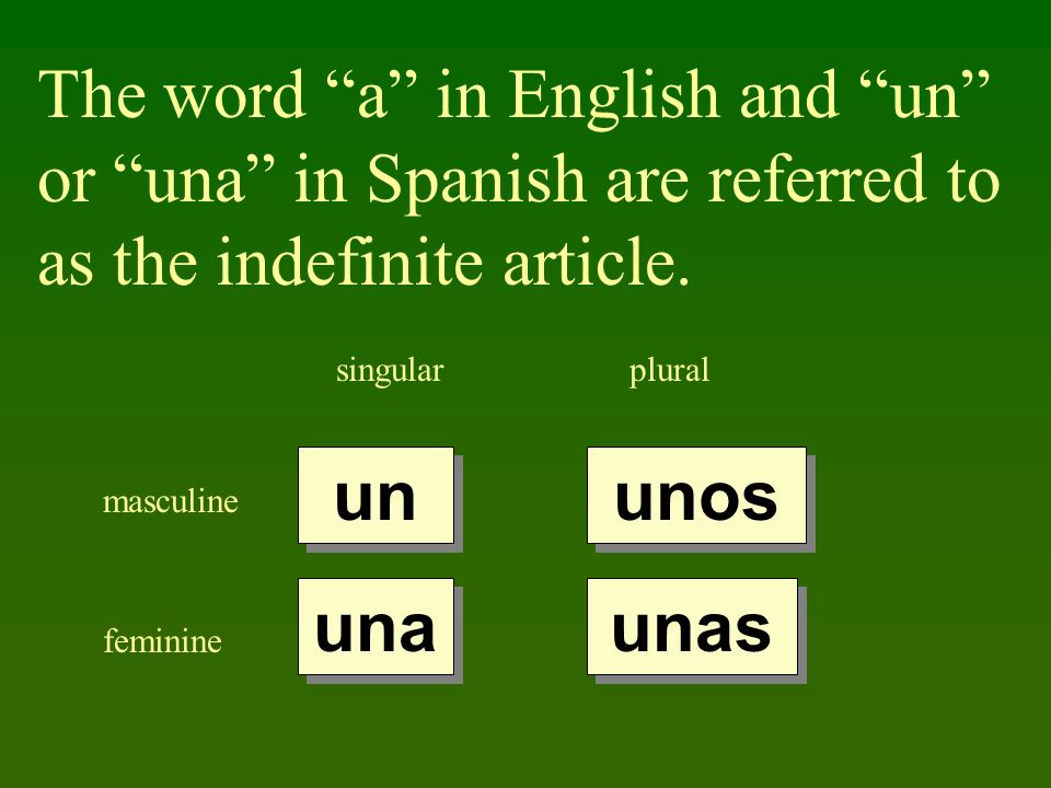 The word a in English and un or una in Spanish are referred to as the indefinite article.