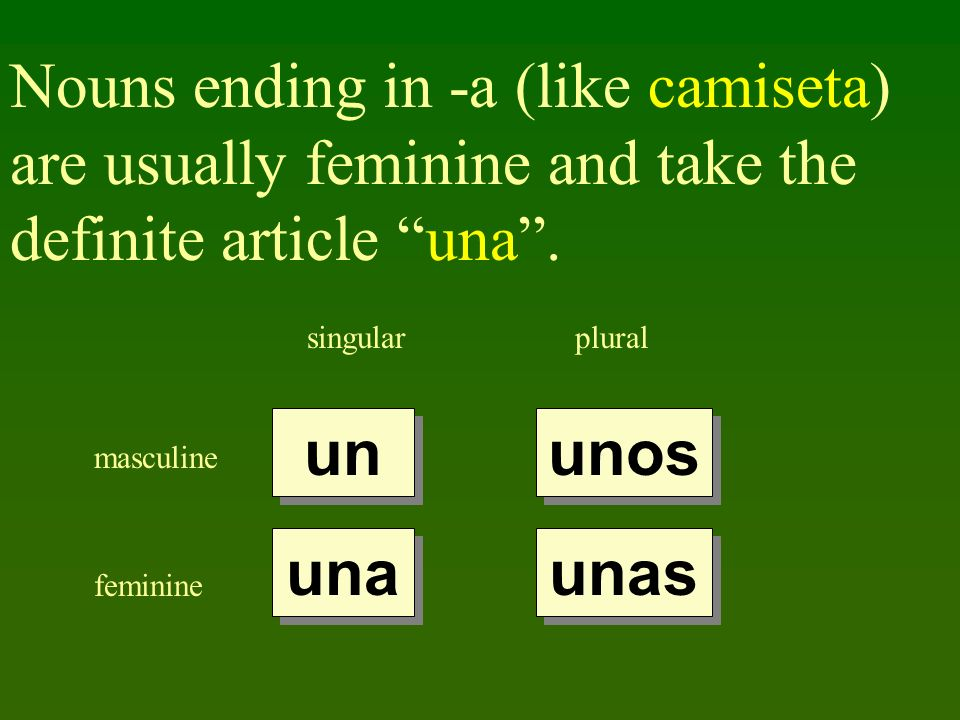 Nouns ending in -a (like camiseta) are usually feminine and take the definite article una .