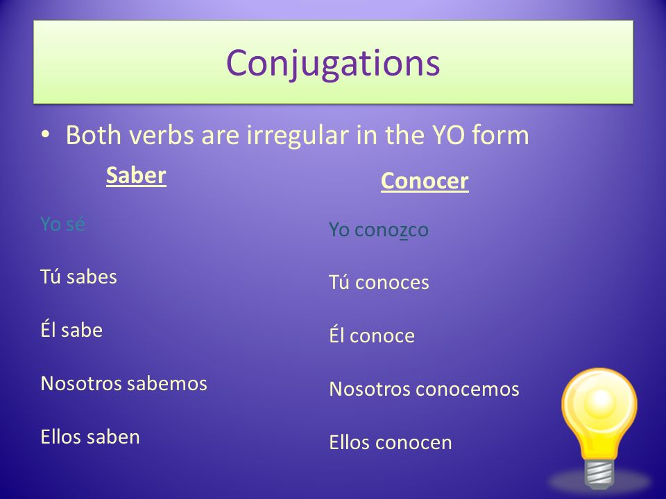 Conjugations Both verbs are irregular in the YO form Saber Conocer
