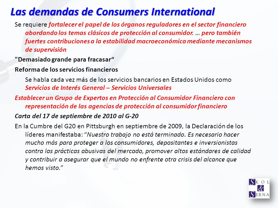 Las demandas de Consumers International