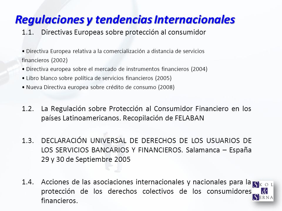 Regulaciones y tendencias Internacionales