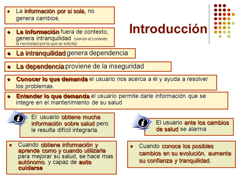 Introducción La intranquilidad genera dependencia