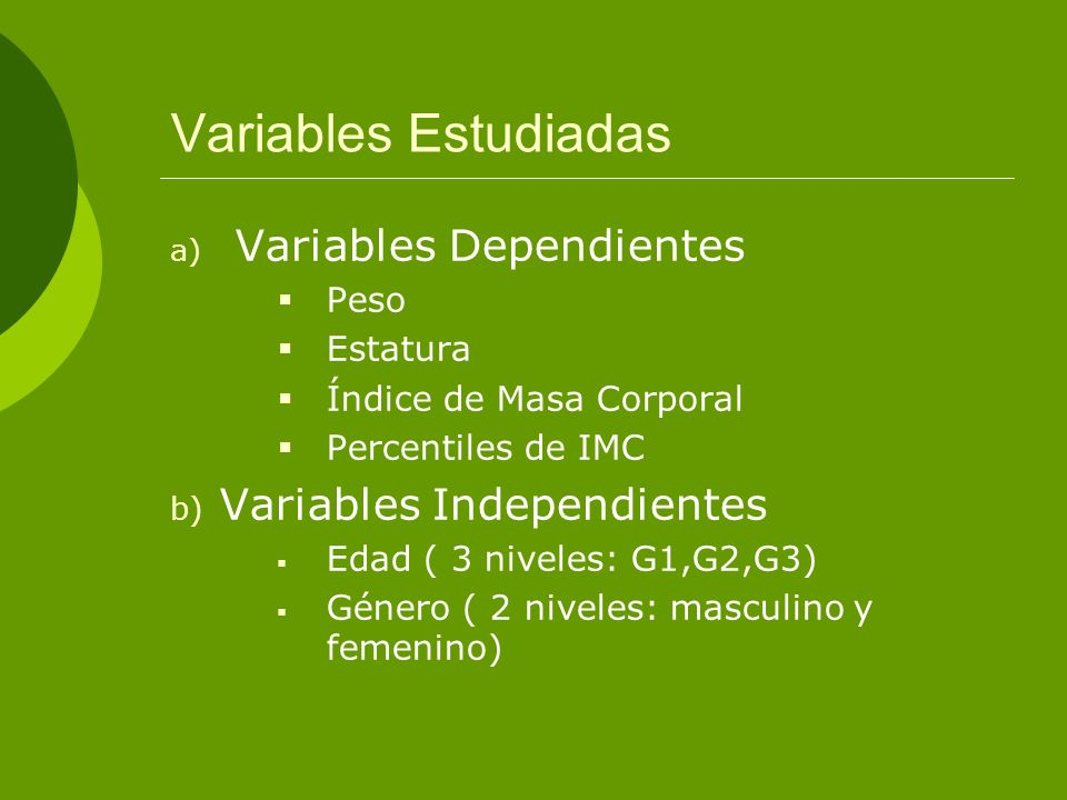 Variables Estudiadas Variables Dependientes Peso Estatura