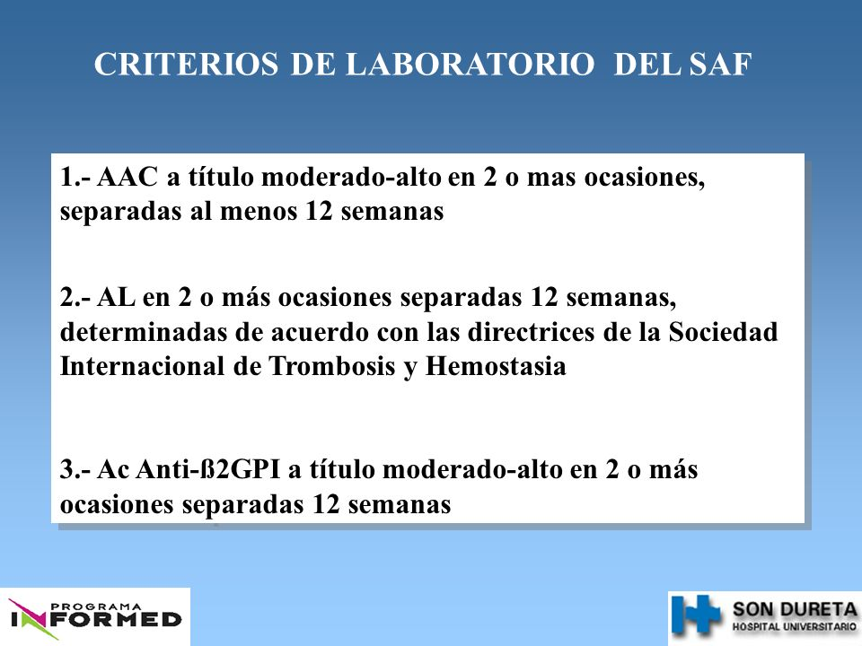 CRITERIOS DE LABORATORIO DEL SAF