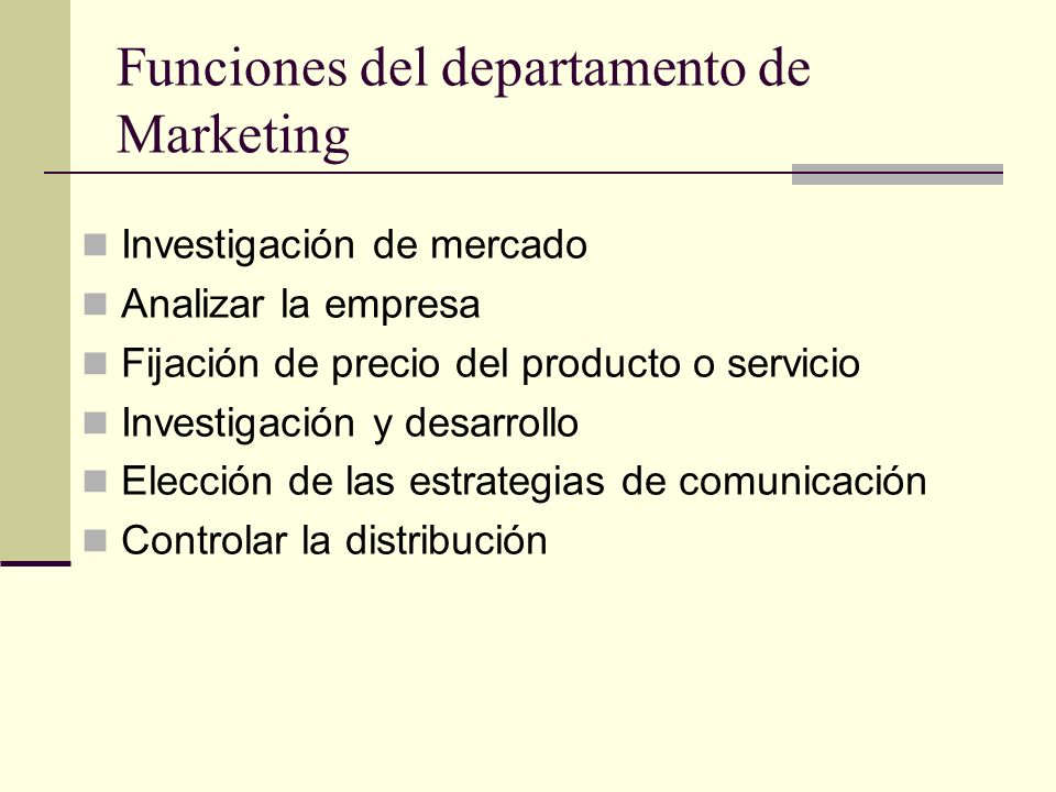Funciones del departamento de Marketing