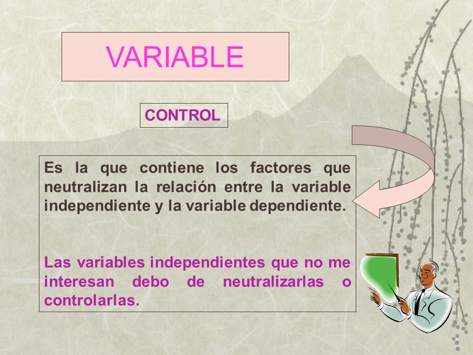 VARIABLE CONTROL. Es la que contiene los factores que neutralizan la relación entre la variable independiente y la variable dependiente.