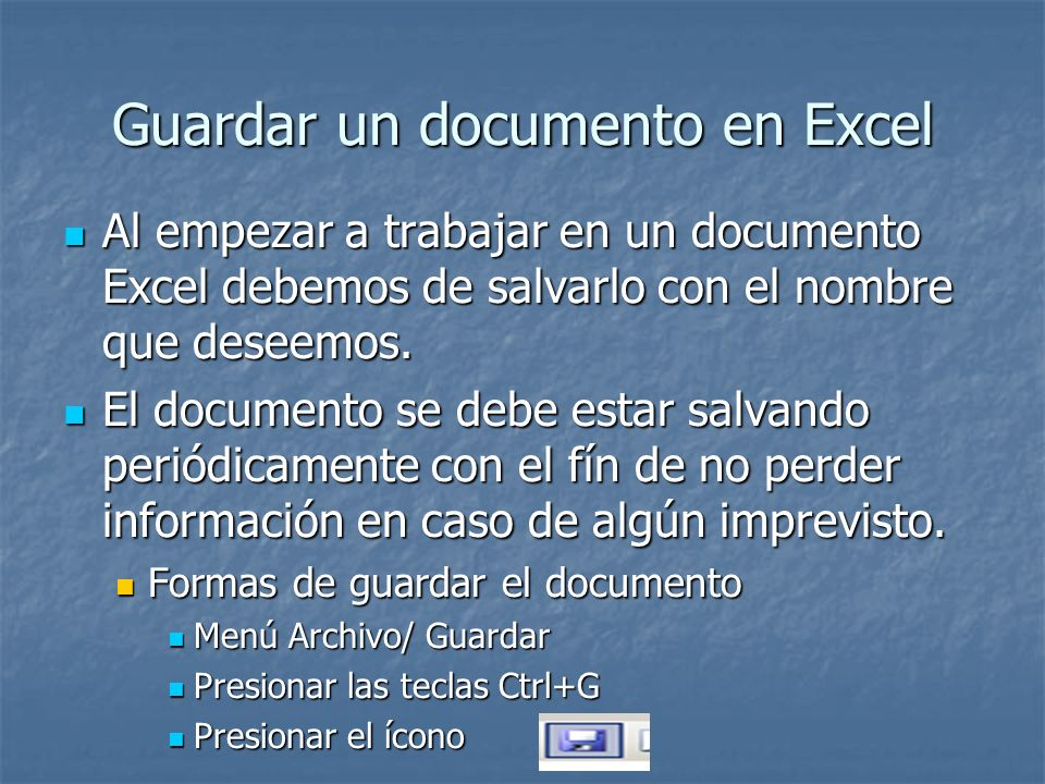 Guardar un documento en Excel