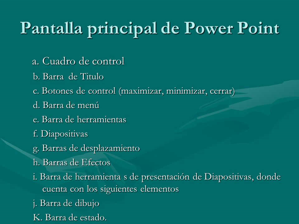 Pantalla principal de Power Point