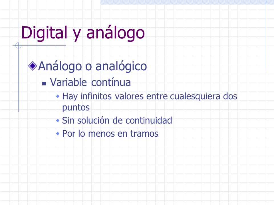 Digital y análogo Análogo o analógico Variable contínua