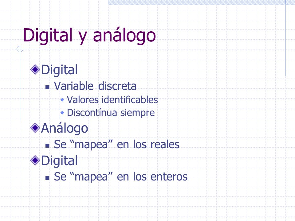 Digital y análogo Digital Análogo Variable discreta