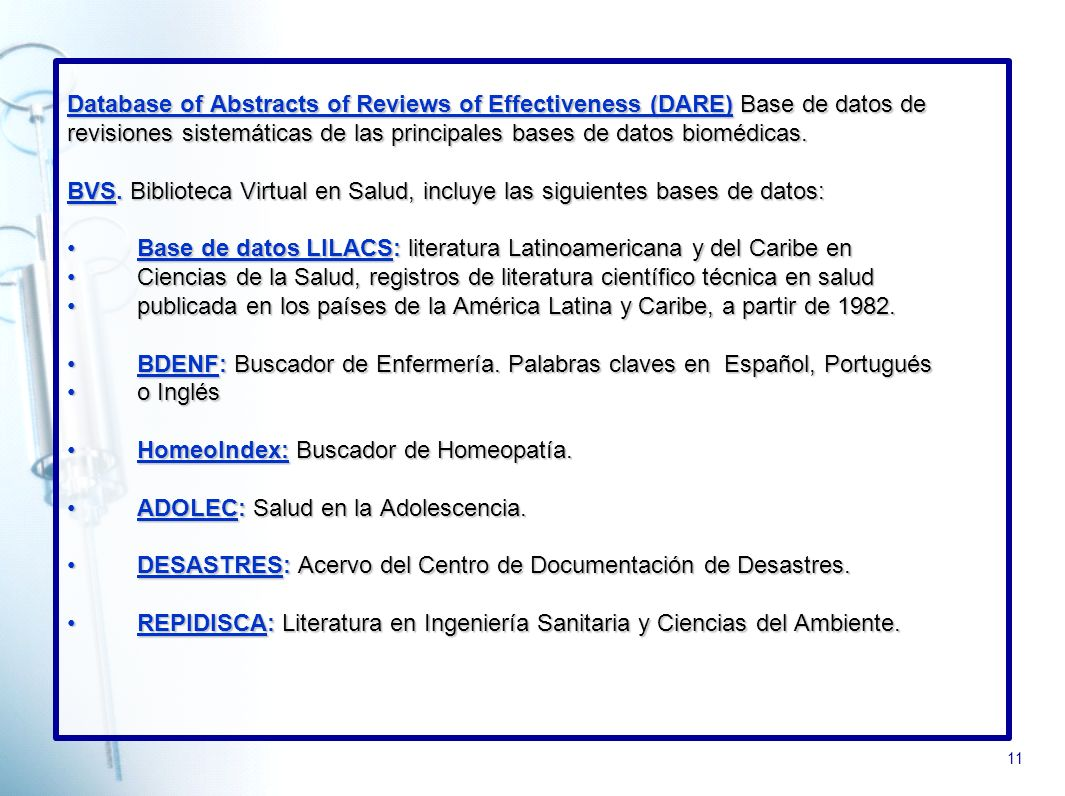 Database of Abstracts of Reviews of Effectiveness (DARE) Base de datos de
