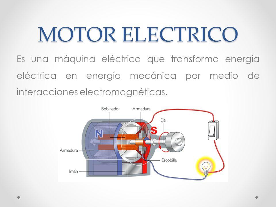 0a0b78a3c93 29 MOTOR ELECTRICO Es una máquina eléctrica que transforma energía eléctrica  en energía mecánica por medio de interacciones electromagnéticas.