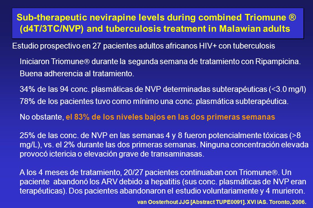 Sub-therapeutic nevirapine levels during combined Triomune ®