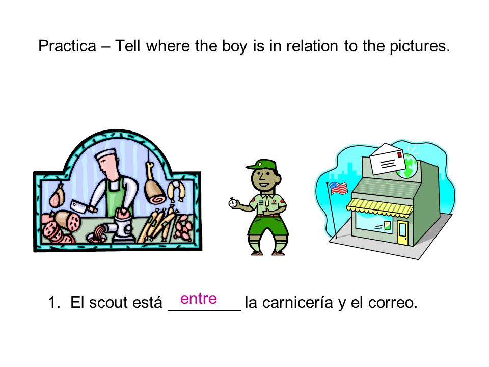 Practica – Tell where the boy is in relation to the pictures.