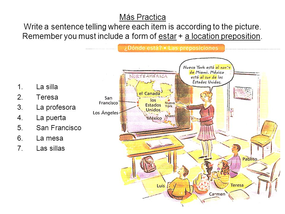 Más Practica Write a sentence telling where each item is according to the picture. Remember you must include a form of estar + a location preposition.