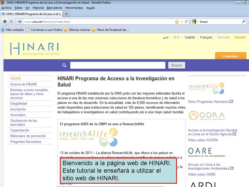 MÓDULO Página web de HINARI, interfaz, revistas, y otros recursos a ...