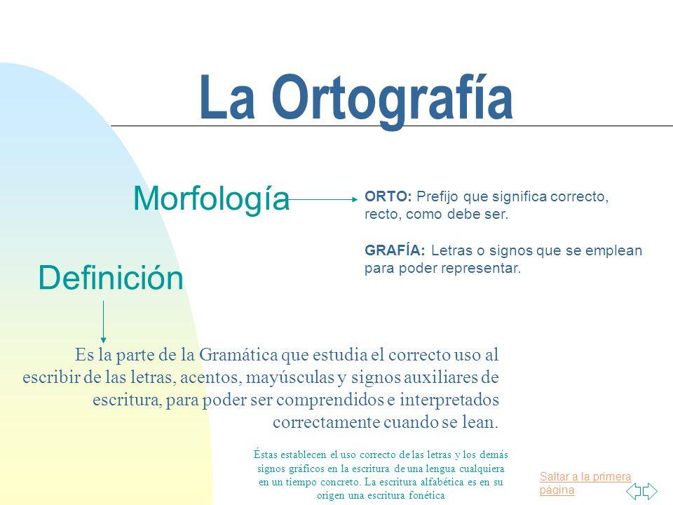 La Ortografía Su Razón De Ser Morfología De La Palabra