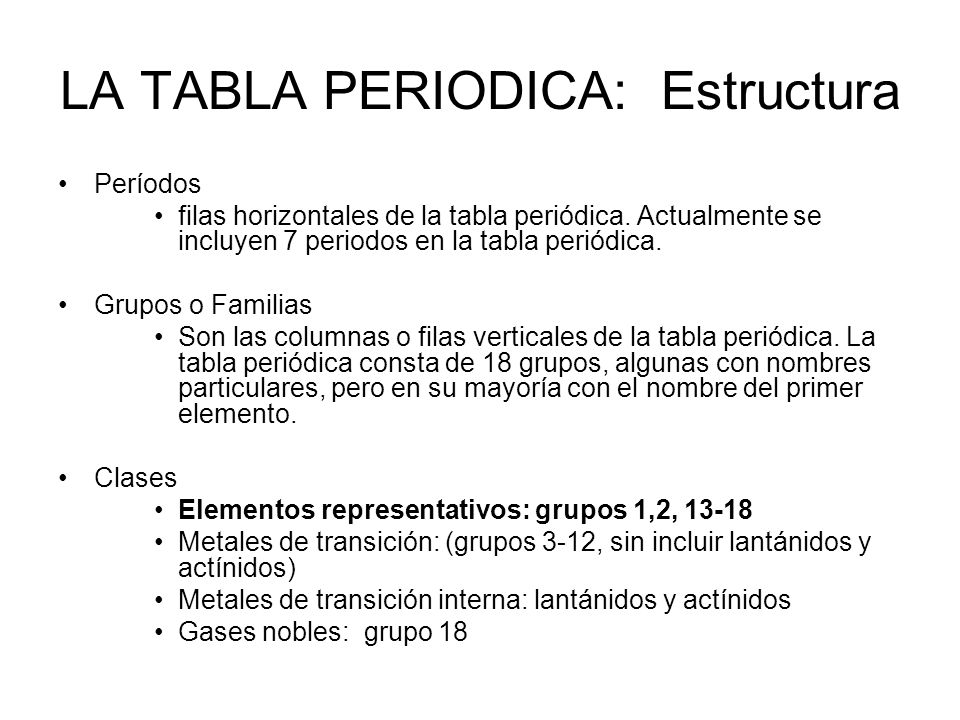 Tabla peridica y la estructura de la materia profesora gilda daz la tabla periodica estructura urtaz Choice Image