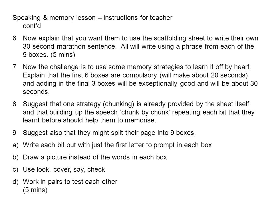 Speaking & memory lesson – instructions for teacher cont'd