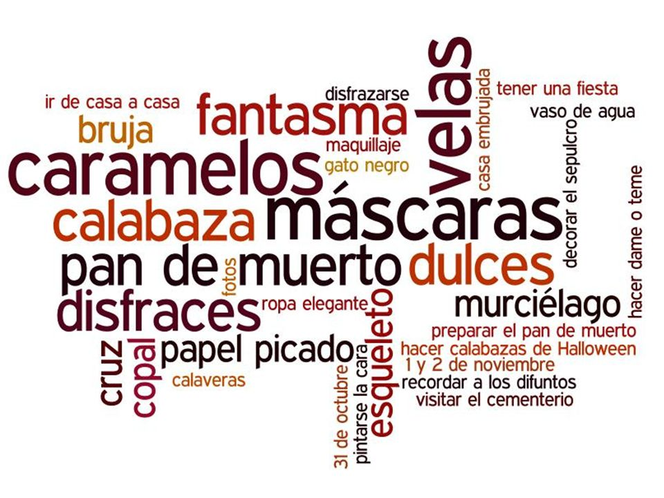Combined wordle with Day of the Dead and Halloween vocabulary