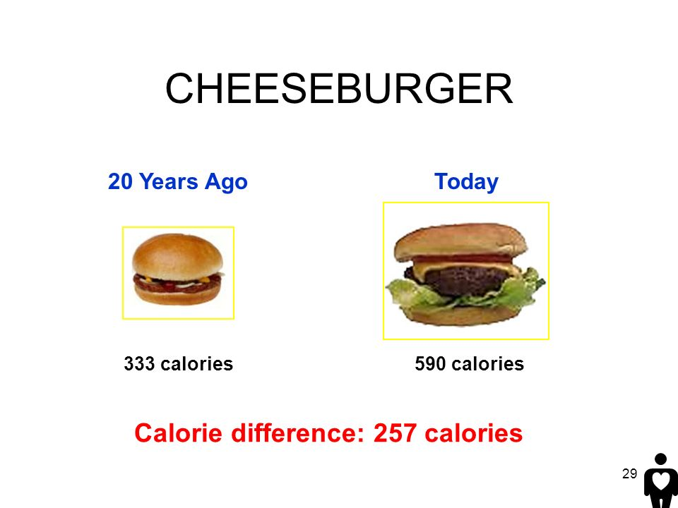 CHEESEBURGER Calorie difference: 257 calories 20 Years Ago Today