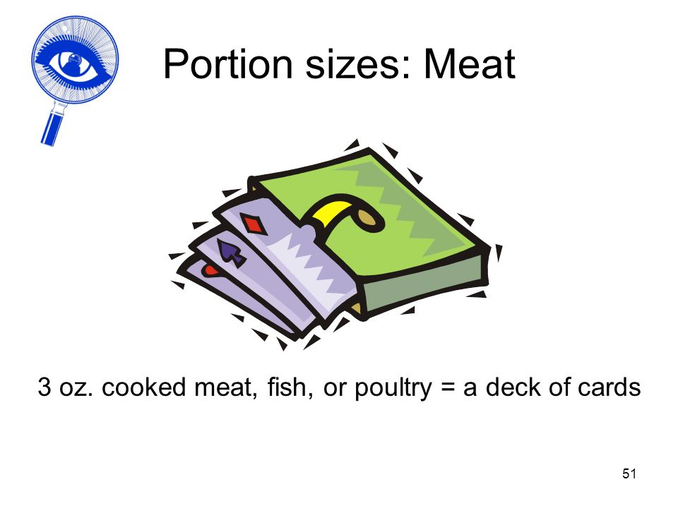 3 oz. cooked meat, fish, or poultry = a deck of cards