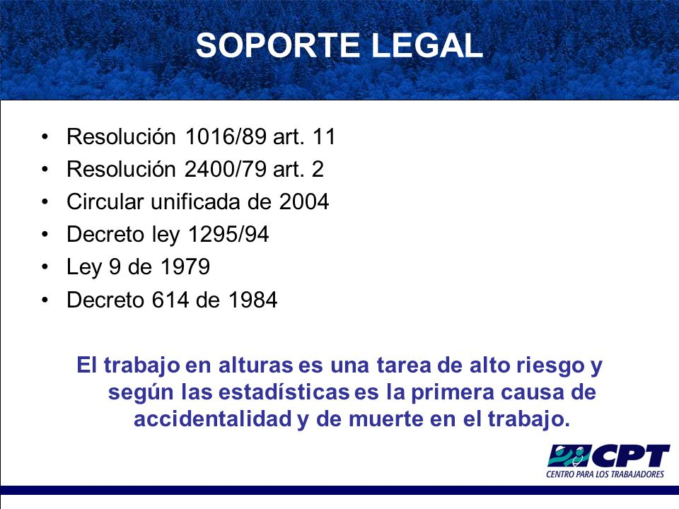 SOPORTE LEGAL Resolución 1016/89 art. 11 Resolución 2400/79 art. 2