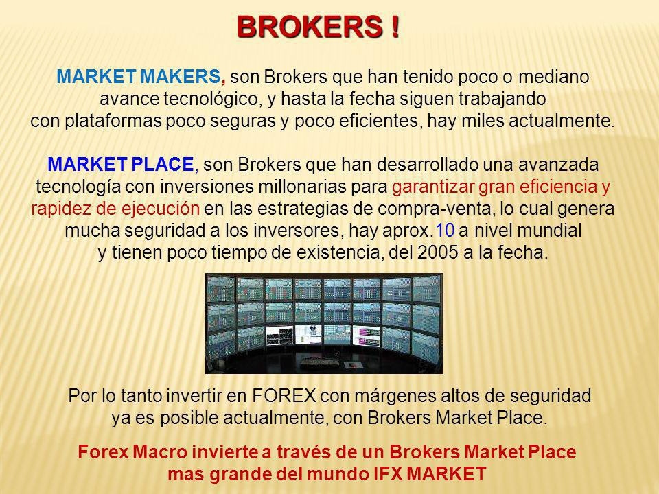 BROKERS ! MARKET MAKERS, son Brokers que han tenido poco o mediano