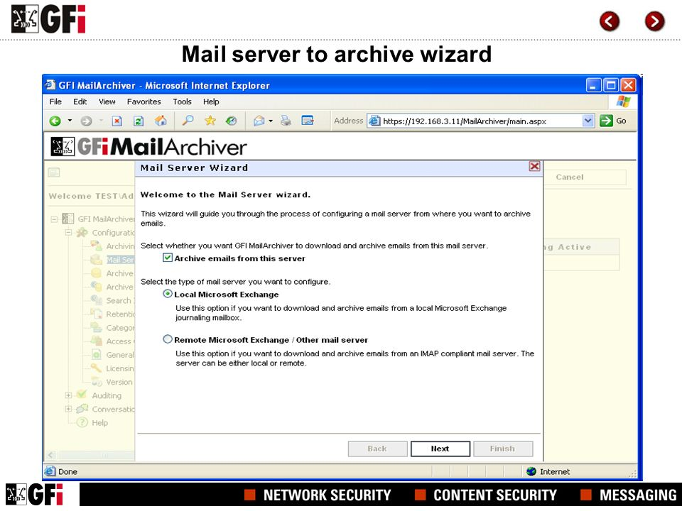 Mail server to archive wizard