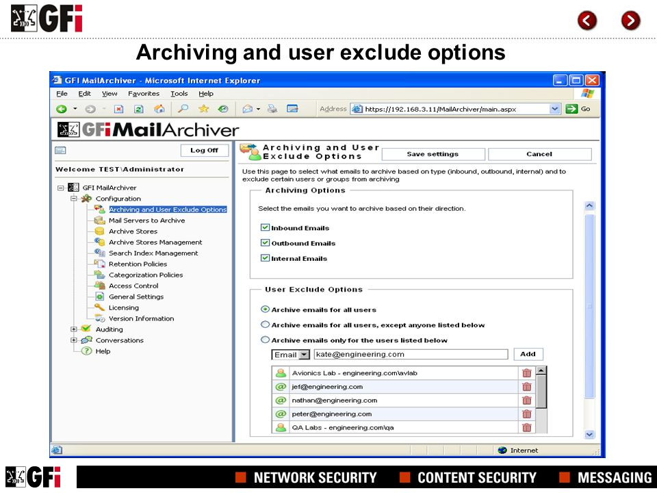 Archiving and user exclude options