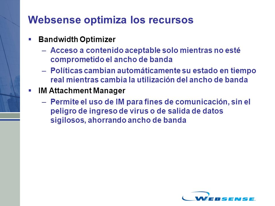 Websense optimiza los recursos