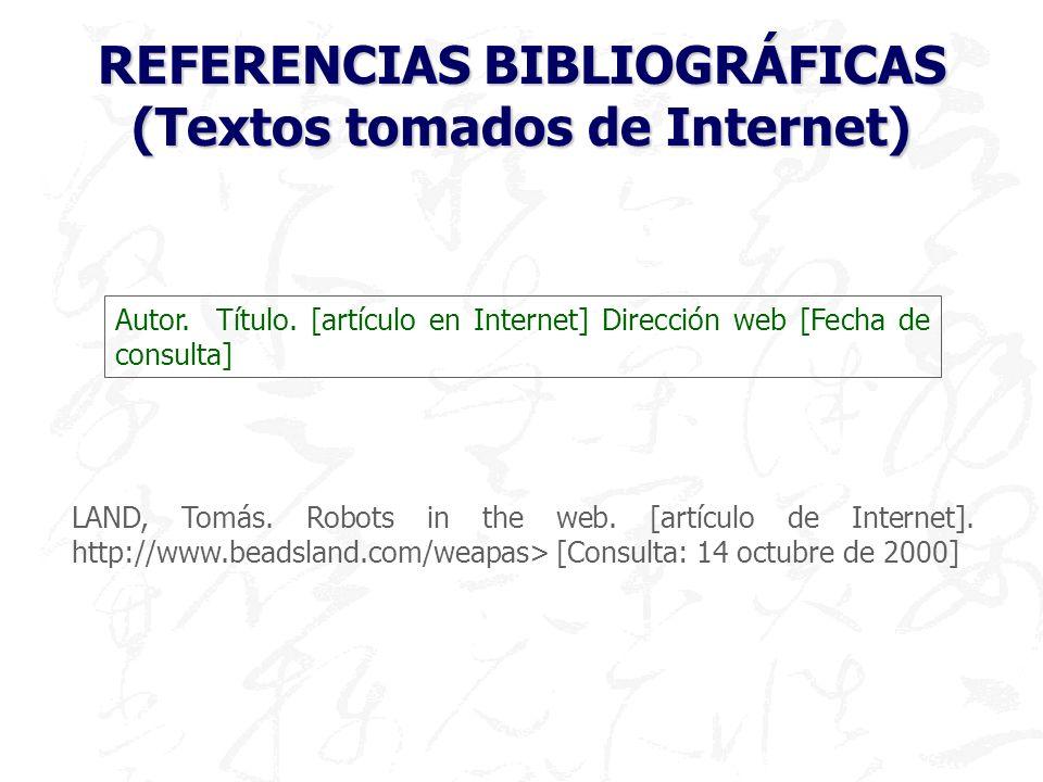 Citas bibliograficas articulos de internet