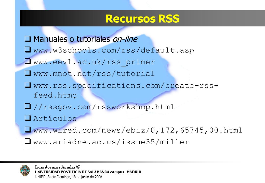 Recursos RSS Manuales o tutoriales on-line