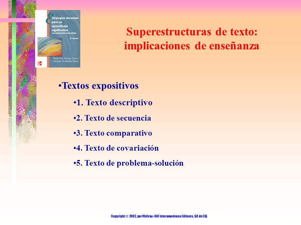 Superestructuras de texto: implicaciones de enseñanza