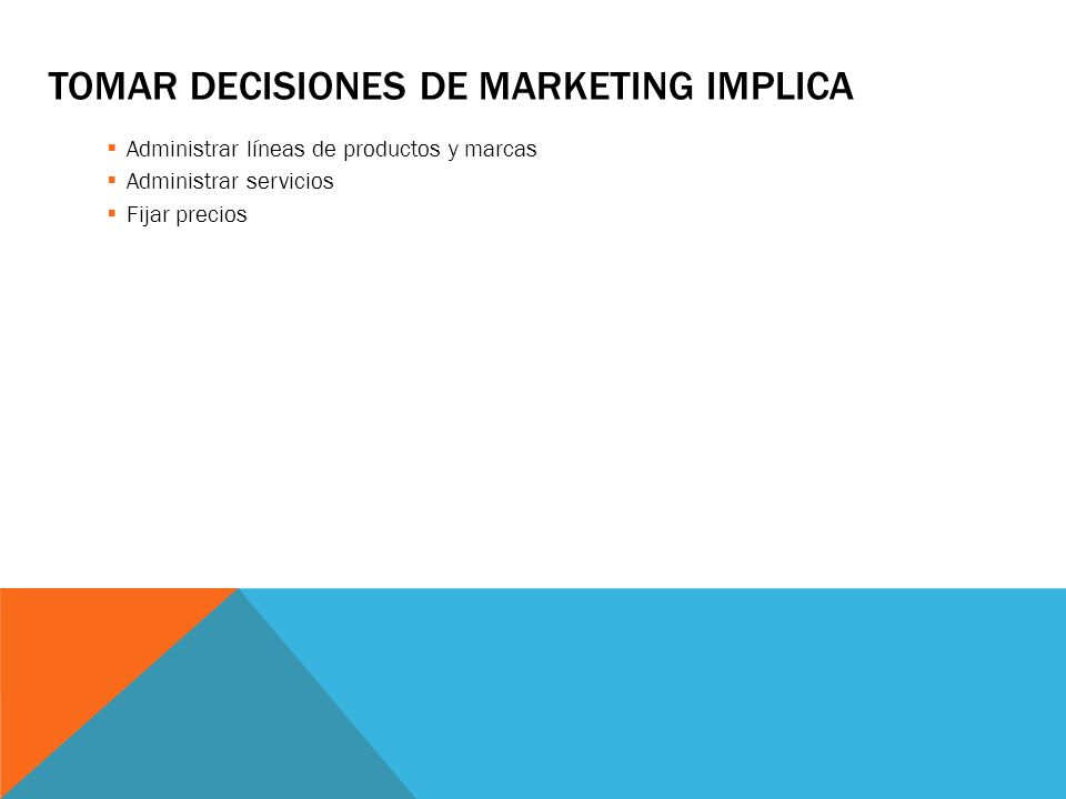 Tomar decisiones de marketing implica