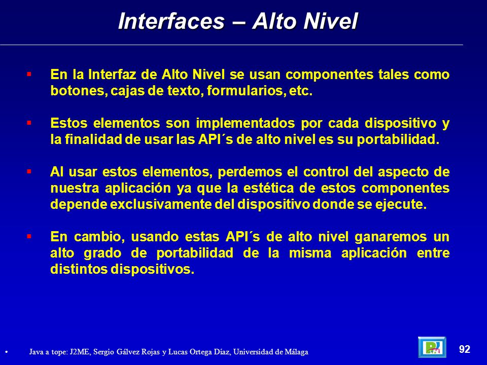 Interfaces – Alto Nivel