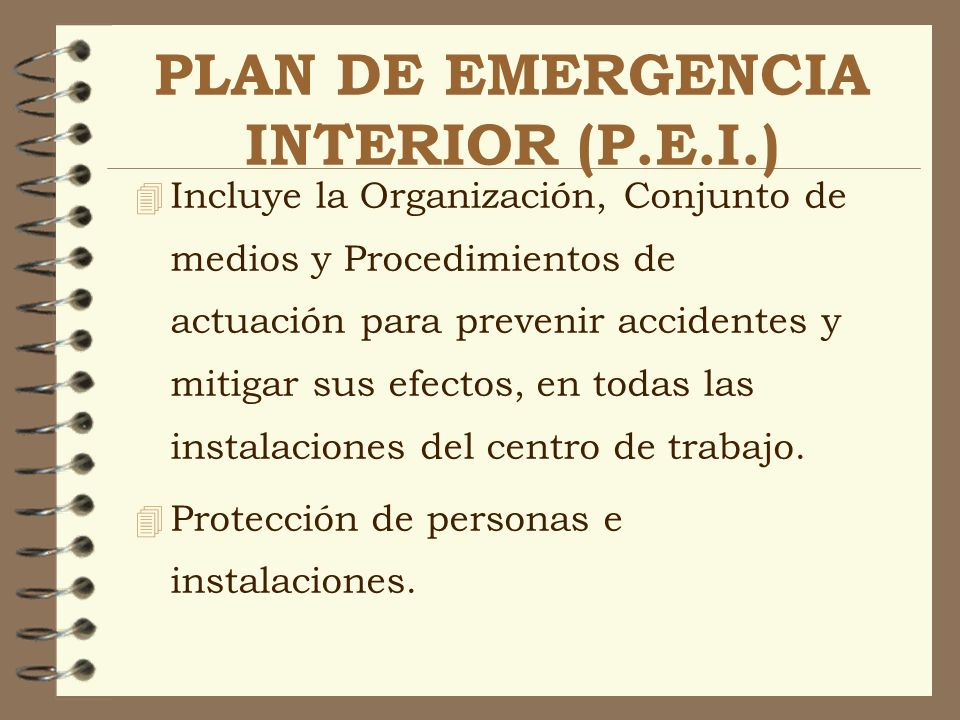 PLAN DE EMERGENCIA INTERIOR (P.E.I.)