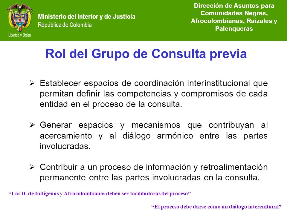 Lineamientos del proceso de consulta previa ppt video for Intranet ministerio de interior y justicia