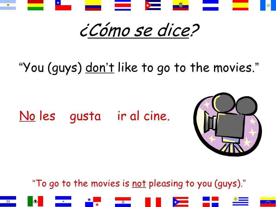 ¿Cómo se dice You (guys) don't like to go to the movies. No les