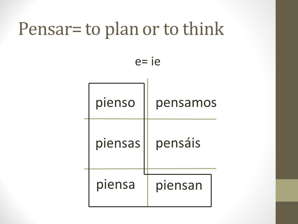 Pensar= to plan or to think