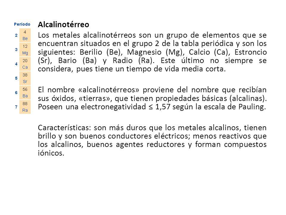 alcalinotrreo los metales alcalinotrreos son un grupo de elementos que se encuentran situados en el grupo metales alcalinos tabla periodica