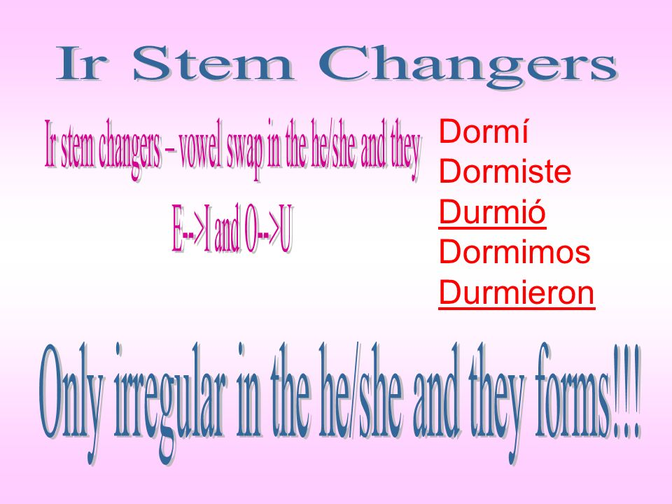 Ir stem changers – vowel swap in the he/she and they
