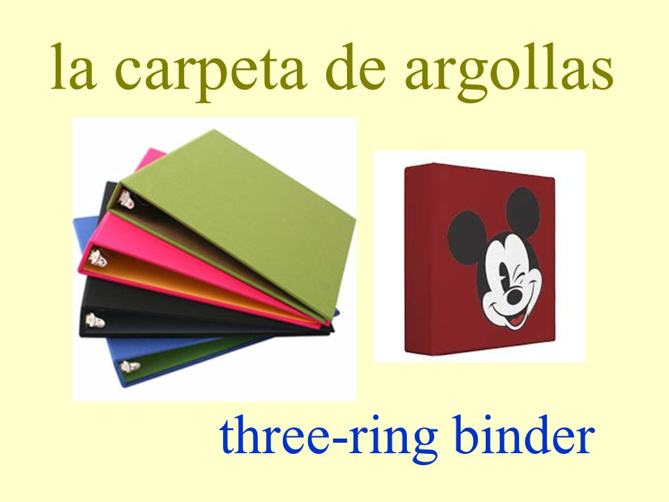 la carpeta de argollas three-ring binder