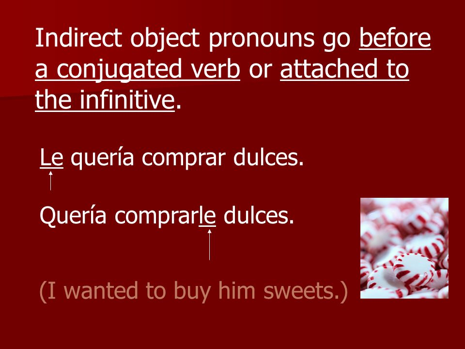 Indirect object pronouns go before a conjugated verb or attached to