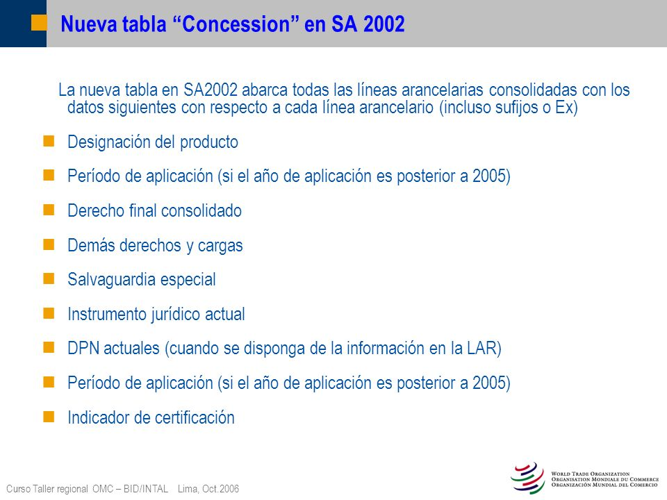 Nueva tabla Concession en SA 2002